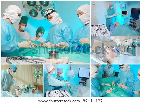 Serious medical operation in hospital. Collage