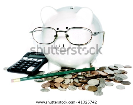 Serious piggy for retirement planning concept