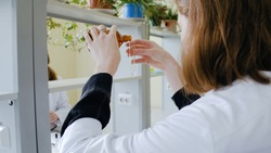 Serious science student pouring liquid in an test tube. Young woman pouring liquid into test tube