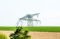 Serious storm damage on a high voltage power line after a strong storm
