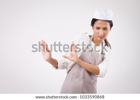 serious stressed sad unhappy asian woman domestic worker saying no with halt stop hand sign, woman housekeeper rejecting, girl woman shopkeeper, housewife, girl cleaner, woman maid