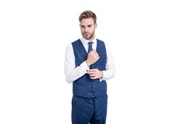 Serious white collar wear elegant waistcoat in formal fashion style isolated on white, formalwear.