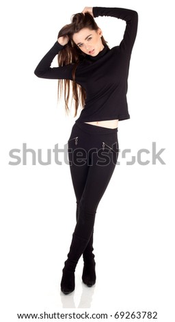 serious young beautiful woman in black clothes