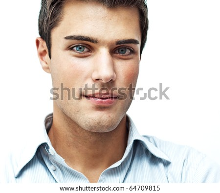 Serious young man close portrait