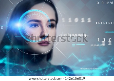 Serious young woman head close up. Face recognition and biometric verification technology interface and HUD. Concept of security and AI. Toned image double exposure blurred