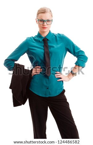 seriously businesswoman holding hands on her waist over white background
