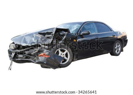 Seriously damaged business auto isolated with clipping path