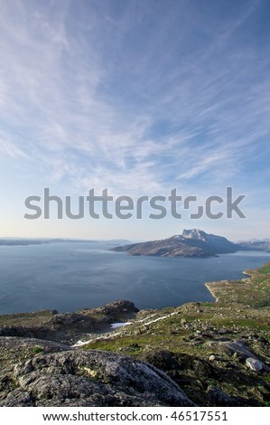 Sermitsiaq mountain seen from Paradisdalen in Nuuk, Greenland