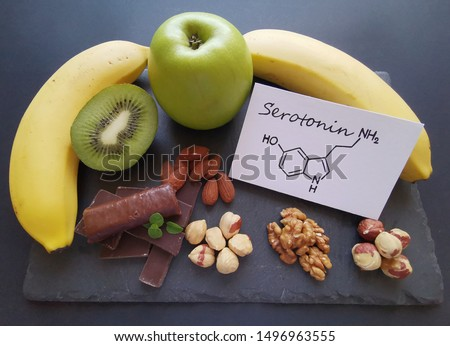 Serotonin-boosting foods. Assortment of food for good mood and happiness. Healthful foods that may help boost serotonin. Natural sources of serotonin with structural chemical formula of serotonin.