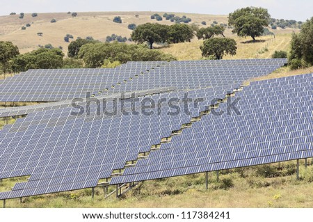 Serpa solar power plant with horizontal single axis tracking system, Alentejo, Portugal