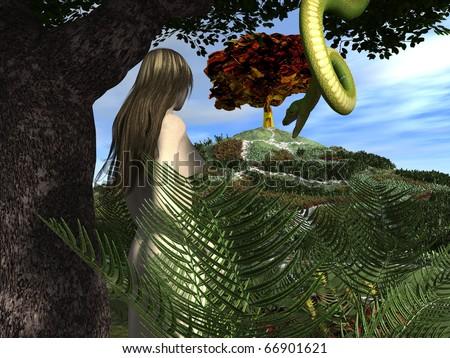 Serpent tempts eve in the garden of eden stock photo - Who was the serpent in the garden of eden ...