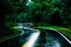 Serpentine country road in summer rain, Bergoo Road, Webster County, West Virginia, USA
