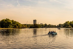 Serpentine River, Hyde Park, London, England August 28, 2017: Paddle Boat.