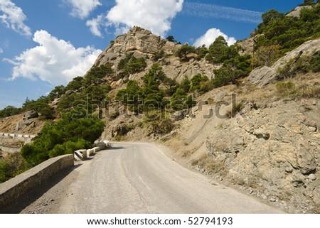 serpentine road along black sea coast near to Sudak city