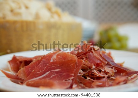serrano, jamon on the plate and parmesan