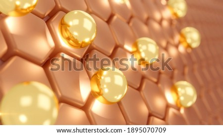 serum and vitamin drop on skin cell. serum through the skin layer and reduce up saggy skin of the skin cell. 3d rendering.