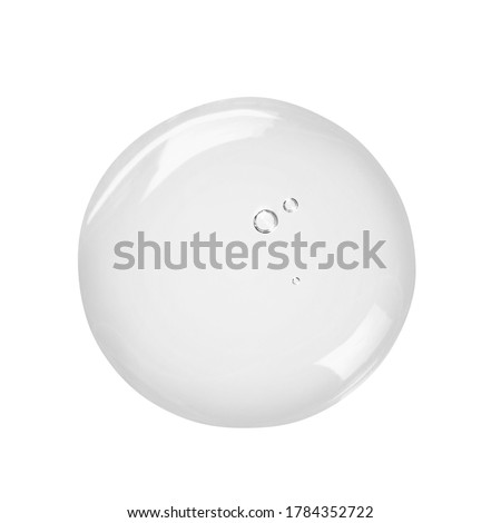 Serum gel drop isolated on white background. Clear skincare cream swatch. Liquid beauty product sample close up