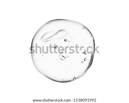 Serum gel texture. Clear cosmetic liquid swatch isolated on white background. Transparent skincare product sample
