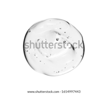 Serum texture. Clear liquid gel drop. Transparent skin care cream swatch isolated on white background. Beauty cosmetic product sample close up