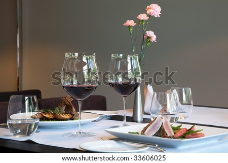 Served dinner in modern restaurant