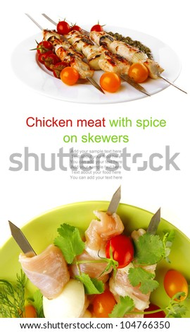 served fresh chicken kebabs on dark plate - stock photo