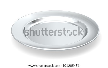 Served on silver platter. A silver plate on white background.
