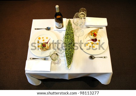 Served restaurant table for two persons