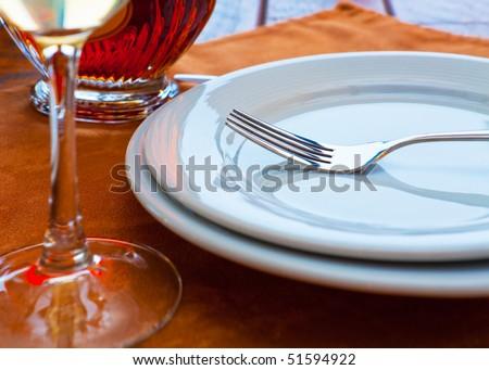Served restaurant table. Shallow DOF