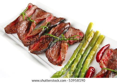 served slices on white plate with asparagus