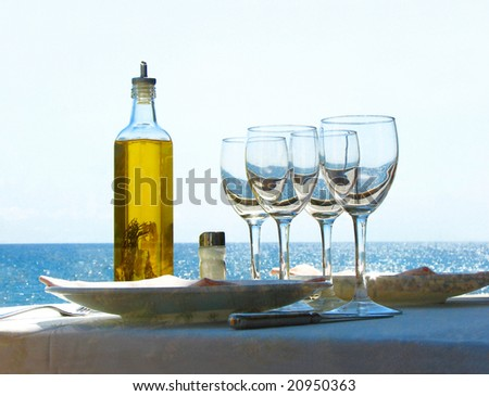 served table and the mediterranean sea