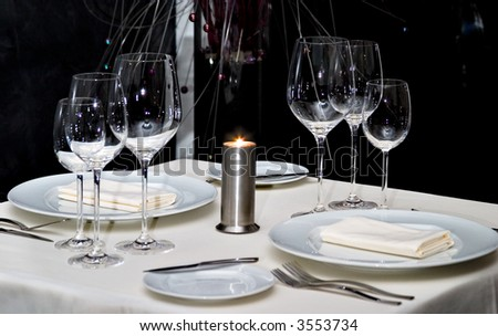 Served table for two persons