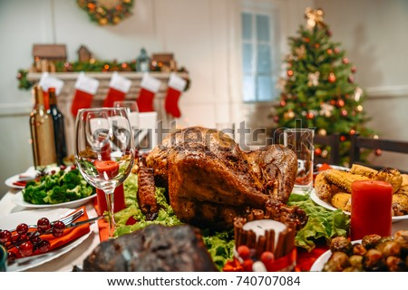 served table with delicious dinner for christmas dinner #740707084