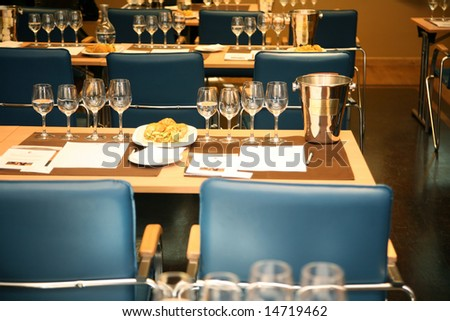 served tables for seminar in the restaurant of hotel
