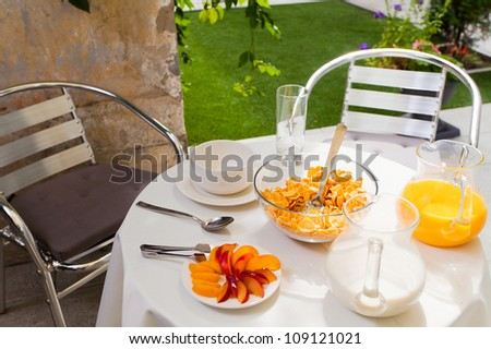 Served vegetarian breakfast table in the courtyard of the hotel. A series of healthy eating, breakfast in the open air.
