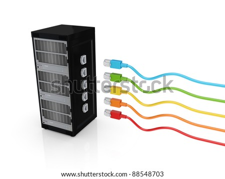 Server and colorful patch cords.Isolated on white background.3d rendered.