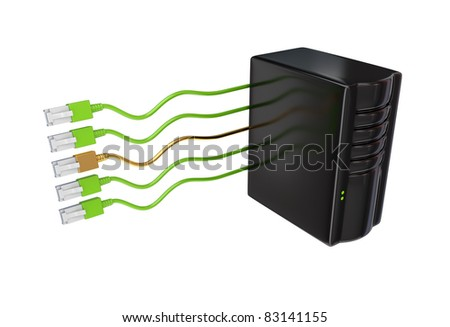 Server and golden patchcord between the ordinary. 3d rendered. Isolated on white background.