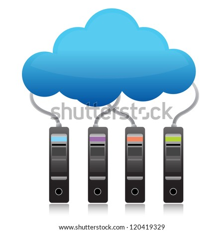server backup cloud computing concept illustration design over white