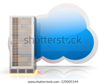 Server cloud computing. 3D rendered illustration.