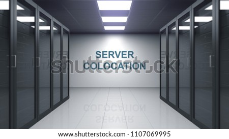 SERVER COLOCATION caption on the wall of a server room. Conceptual 3D rendering Foto stock ©