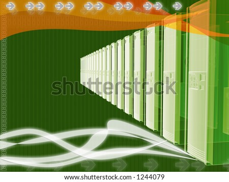 Server connection layout with orange and green color scheme