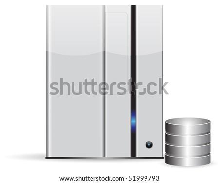 Server database, minimalist, isolated on white background