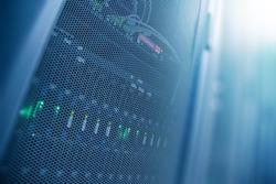 Server internet datacenter room, network, technology concept background, Data center is the server control center for internet provider.