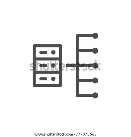 Server line icon isolated on white