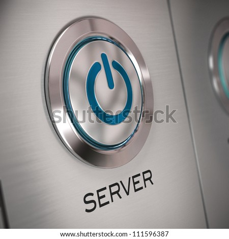 server push button with start symbol in the center. server word is written at the bottom, blur effect