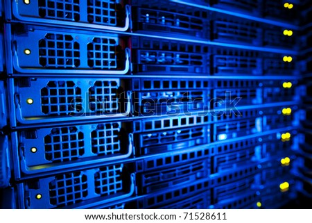 Server rack cluster in a data center shallow DOF color toned image