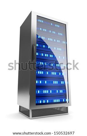 Server rack icon. Hosting concept.