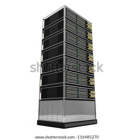 Server Rack isolated on white background