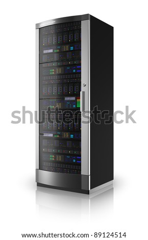 Server rack isolated on white reflective background