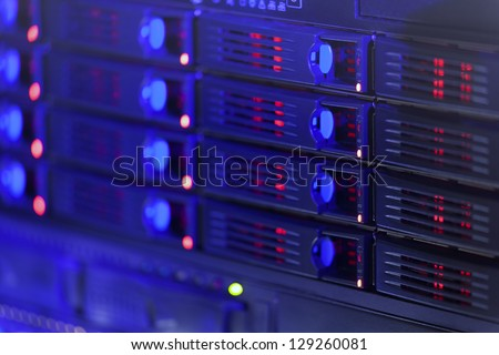 Server rack toned in blue color