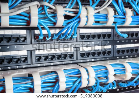 Server rack with blue internet patch cord cables connected to patch panel in server room